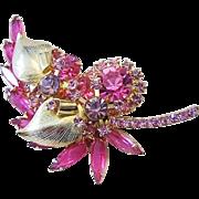 JULIANA 1965 Book Piece Shades Of Pink & Lavender Rhinestones Palm Leaf Pin/ Brooch