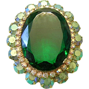 JULIANA Exquisite Emerald Glass & Green AB Rhinestones Convertible Pin / Brooch / Pendant