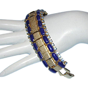 1960's COBALT Opaque Glass & Ocean Blue Rhinestones Textured Gold Metal Bracelet