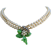 HASKELL-ESQUE 2 Strand Glass Pearls Vauxhall Rhinestones & Carved Glass Necklace