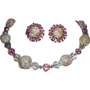 VENDOME Vivacious Pink Crystals & Baubles Necklace & Earrings