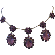1920's CZECH Captivating ART DECO Purple /Eggplant Glass & Rhinestone Necklace 1/20 12K