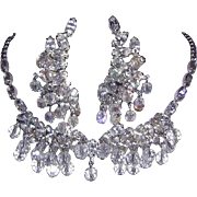 WEISS Rarely Seen Lavish Rhinestones & Dangling Ice Crystals Necklace & Earrings