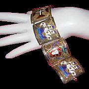 CHINESE EXPORT Wide Colorful Enameled Filigree Gilded Panel Bracelet