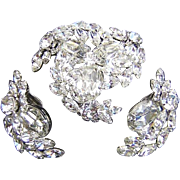 SHERMAN Shimmering Rhinestones Bold Dimensional Pin / Brooch & Earrings