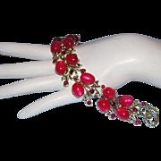 1950's CORO Pegasus Captivating Berry Red / Pink & Rhinestone Bracelet