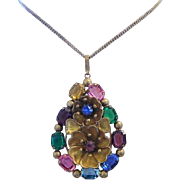1930's DECO / NOUVEAU Dazzling Color Rhinestones Highly Detailed Necklace / Pendant