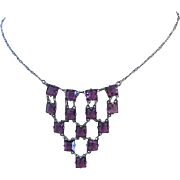 1920's ART DECO Square Purple Open Back Rhinestones Dainty Necklace