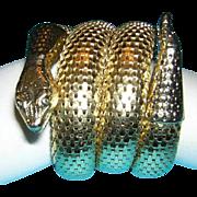 WHITING DAVIS 3 Coil Brilliant Gold Tone Vintage SNAKE Bracelet