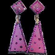 VENDOME Vivacious Amazing Color Lucite Dangle Earrings