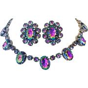 1960's Intriguing WATERMELON / TOURMALINE Rhinestones Necklace & Earrings