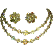 1950's Exquisite YELLOW Sparkling Crystals Necklace & Earrings  Impossible To Find Color!