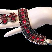 Ravishing Ruby Red CAPTIVATING Rhinestone Bracelet & Earrings