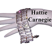1960's HATTIE CARNEGIE Couture Wide GLITZY Extravagant  Rhinestone Studded Bracelet