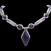1920's / 30's ART DECO Bold Bezel Set Purple Rhinestones Textured Metal Necklace