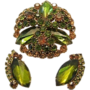 1960's HOBE Signed Captivating WATERMELON Unique Shape Stones & Rhinestones Pin / Brooch & ...