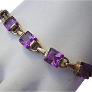 Chinese Export Decadent Color Of Iolite / Amethyst Square Stone STERLING Silver Bracelet
