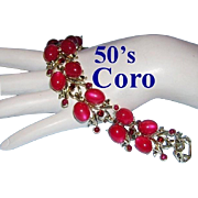 1950's CORO Pegasus Captivating Berry Red / Pink & Rhinestone Bracelet