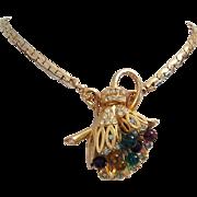 1950's Gorgeous GRIPOIX Glass & Rhinestones Dimensional Dazzling Necklace