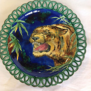 Wedgwood Majolica  Plate with Painted Tiger