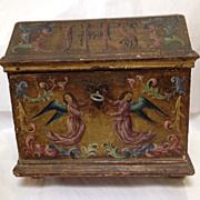 Antique Spanish Alms Box Painted Cherubs