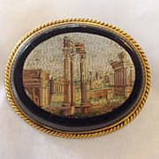 Classical Architectural  Scene  Micro Mosaic Pin