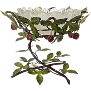 Strawberry with Vines  Centerpiece Bowl Metal and Glass