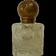 Bronze Lid Cut Glass Ink Well - Circa 1860