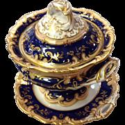 21 Piece English Porcelain Cobalt Gilt Dinner Service c1840