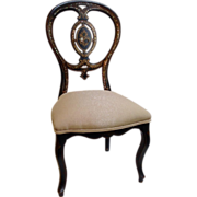 Victorian Lacquered Child's Chair Mother of Pearl Inlay