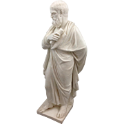 Antique Parian Philosopher Figure With Scroll 19th C.