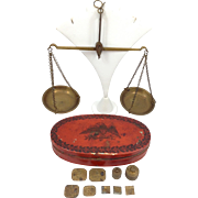 Brass Balance Scale And Weight Set