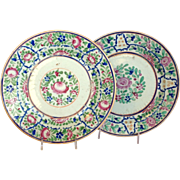 Pair Chinese Export Floral Plates