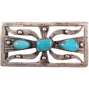 Vintage Native American Sterling and Turquoise Belt Buckle