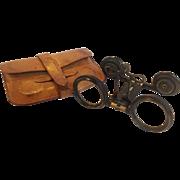 Antique Jumelles Mars Folding Opera Glasses with Original Mark Cross Leather Case