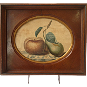 Antique American Theorem Painting 19th Century in a Period Walnut Frame