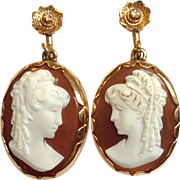 Hardstone Cameo Earrings Victorian 14k