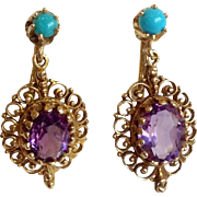 Amethyst and Turquoise Oval Drop Earrings 14k