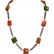 Bakelite Beads on Chain Multicolor Necklace Vintage