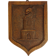 Armorial Carved Wood Panel Beast and Tower