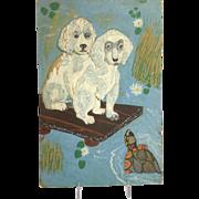 Folk Art Carving Panel Poodles Circa 1945 Signed Memphis
