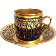 Cobalt and Gold Cup And Saucer Paris Early 19th