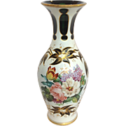 "Bohemian Overlay 11"" Vase White Cut To Green 19th c"