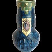 """Bohemian Blue 10"""" Vase Austria Wilhelm Schiller & Son Vas"""