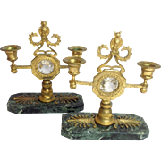 Bronze Gilded Candleholders Owls on Green Marble