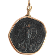 Saint Coin Pendant Gold Mount 10K