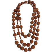 Rosary From Lourdes Carved Wooden Bead 19th Century