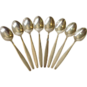 Eight Georg Jensen Cypress Coffee Spoons Sterling Circa 1954