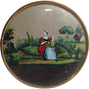 Reverse Painted Glass Box Lady in a Garden