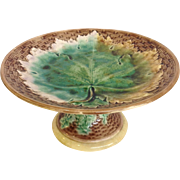 Majolica Grape Leaf Compote Pennsylvania by Griffin Smith & Hill